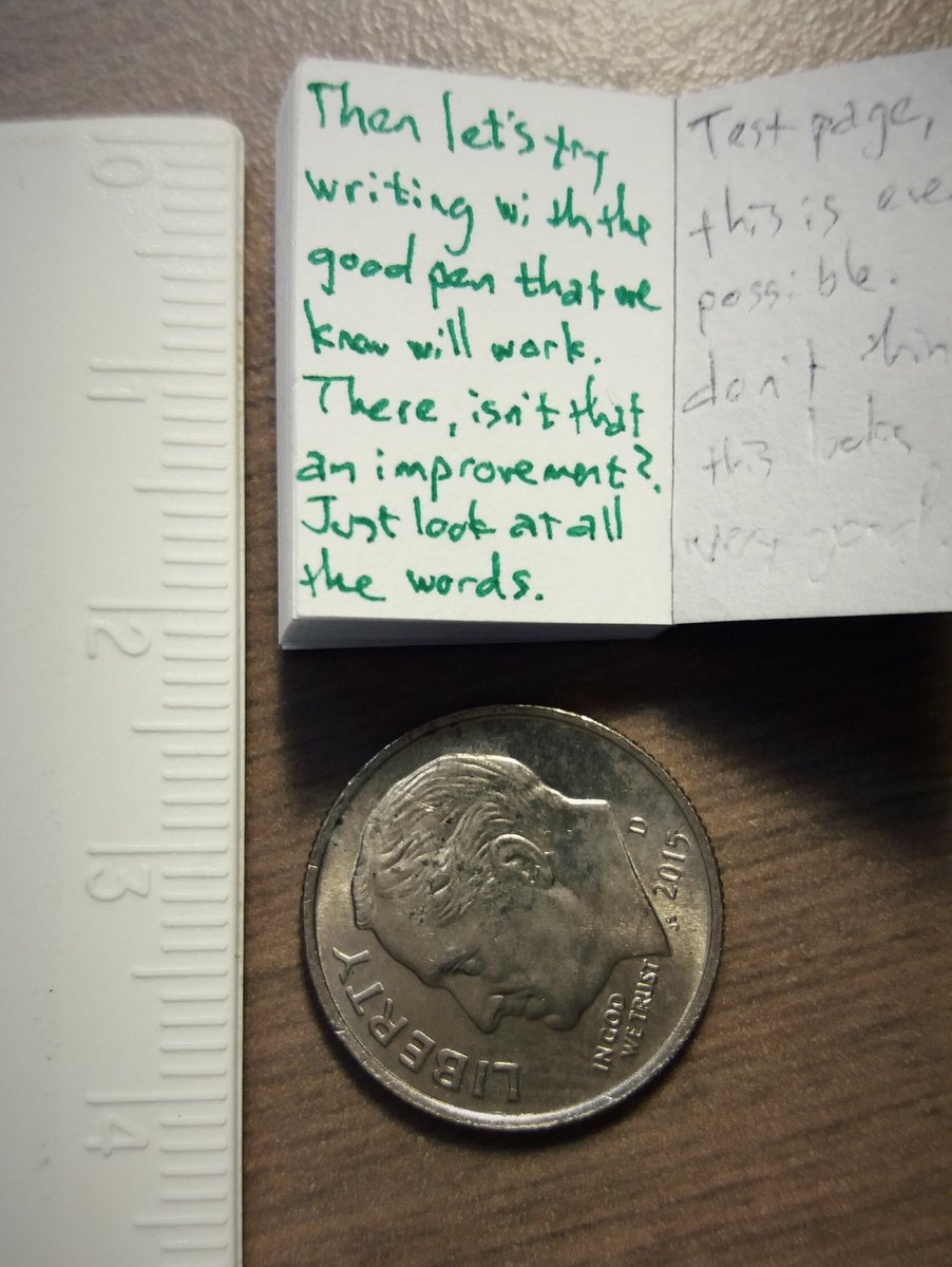 writing in a tiny book