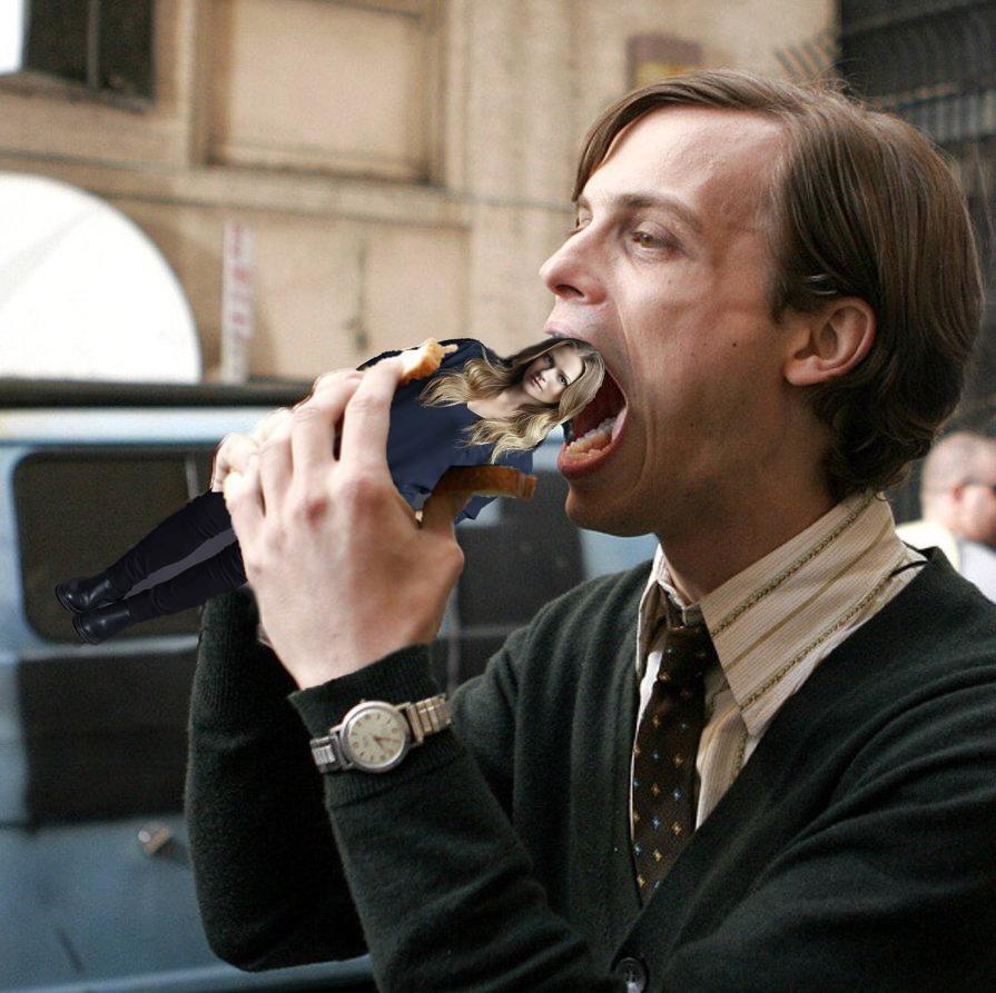 Matthew Gray Gubler eats an A.J. Cook sandwich.
