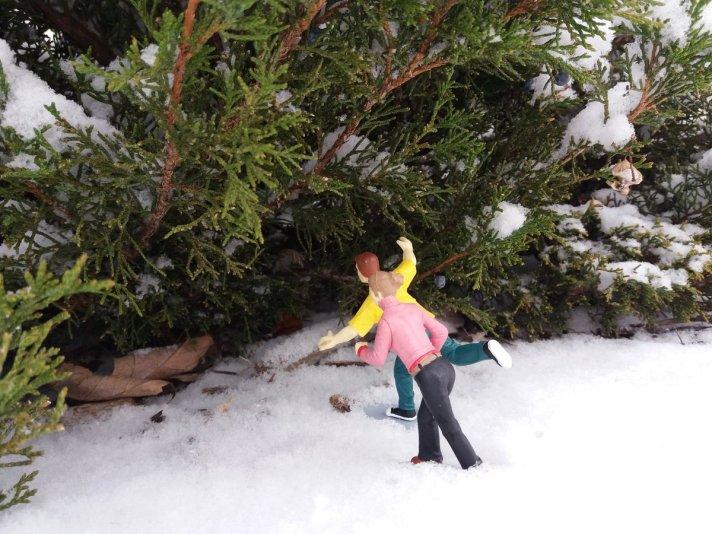 tiny people in snow
