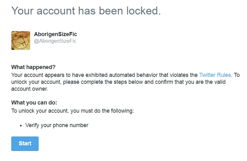 Screengrab of Twitter's suspended account warning.