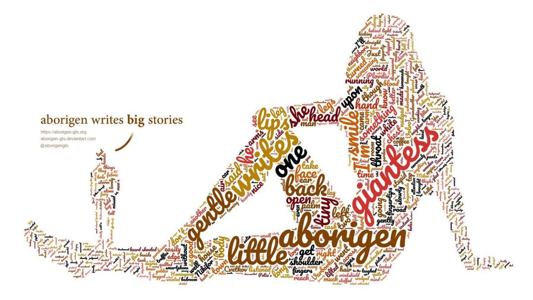 A word-cloud of text shaped like a gigantic reclining woman and a tiny man standing nearby.