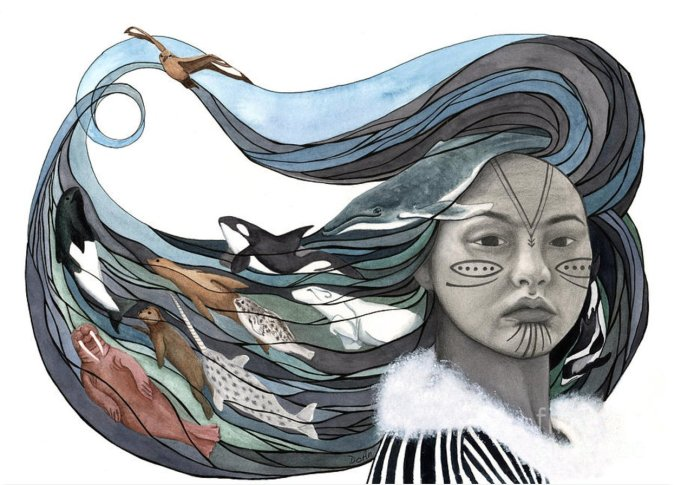 A painting of the goddess Sedna, depicting a woman with facial tattoos and long, flowing hair from which emerge Arctic sea creatures.