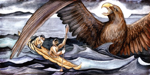 An Inuit man struggles to row his kayak through rough waters, evading a gigantic and furious sea eagle. A woman weeps in the back of his boat.