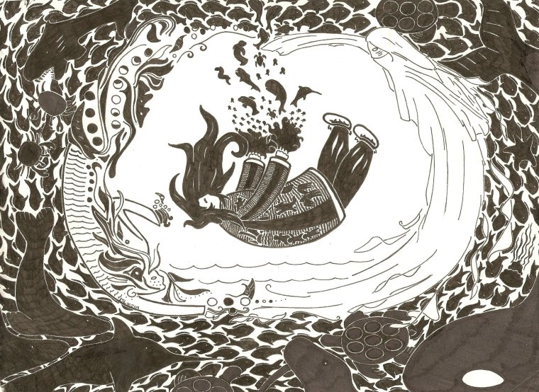 Ink illustration of Sedna sinking to the bottom of the ocean, bleeding from severed wrists. Sea creatures emerge from her blood and spread throughout the waters.