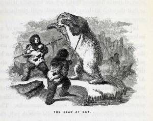 A wood engraving of two Inuit hunters armed with spears, cornering and attacking a polar bear, rearing on its hind legs, upon a snowy riverbank.