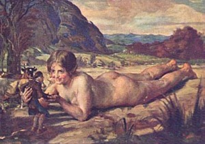 A 25' tall nude woman lies on her chest in an open field, smiling and toying with a befuddled peasant.