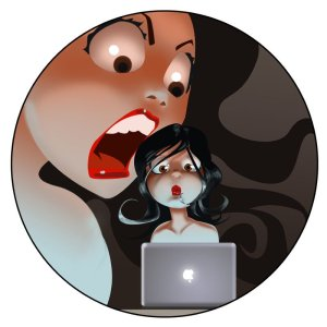 A giantess opens her jaws to devour a tiny woman writing at her laptop.