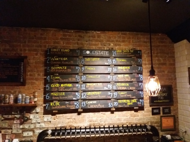 The beer menu at Solid State, a brewpub in Queens, NY.